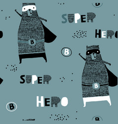 seamless pattern with hand drawn bear hero vector image