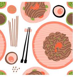 seamless pattern with soba noodles with vector image