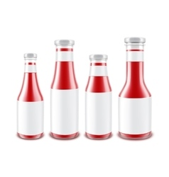 Set of Glass Red Tomato Bottles with labels vector image