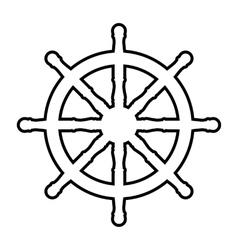 Ship wheel line icon vector
