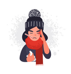 sick cold woman in cap and scarf with thermometer vector image