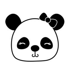 Silhouette shy panda head female wild animal vector