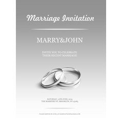 simple invitation card with wedding rings on vector image