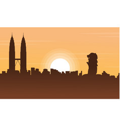 Singapore and malaysia city tour scenery vector