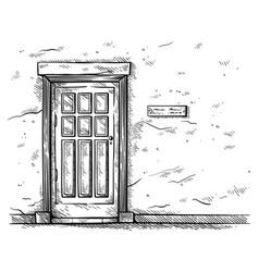 sketch hand drawn old rectangular wooden door vector image