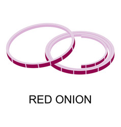 sliced red onion icon isometric style vector image