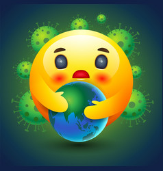 Smiley icon caring earth emotion sign and vector
