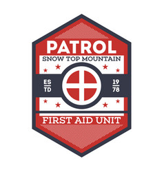 snow patrol first aid unit isolated label vector image