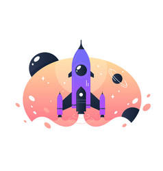 Space rocket takeoff from earth into space and vector