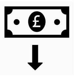 Sterling depreciation icon vector
