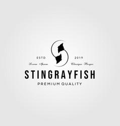 stingray letter s vintage initial logo design vector image