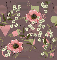 Stylized art background floral template pink vector