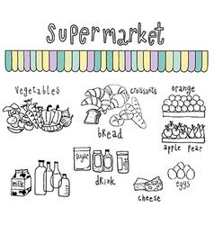 supermarket doodle white vector image