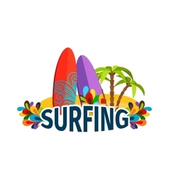Surfing poster with palm trees vector