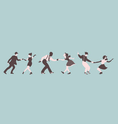 Three swing dance couples on a green background vector