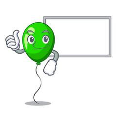 thumbs up with board green balloon cartoon vector image