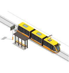 Tram stop isometric composition vector