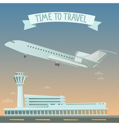Travel banner by airplane time to vector
