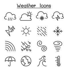 Weather meteorology climate icon set in thin vector