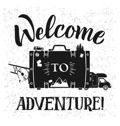 welcome to adventure poster design with vector image