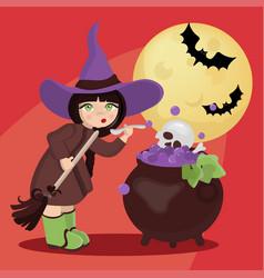 wizard moon mystic holiday cartoon vector image