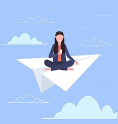 woman flying on paper airplane smiling girl using vector image