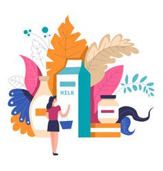 woman shopping at supermarket choosing products at vector image