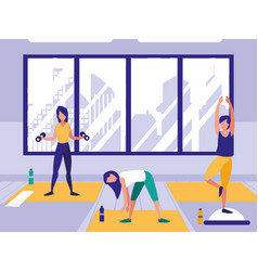 Women performing stretching in gym vector