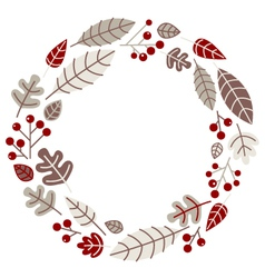 Xmas retro holiday wreath isolated on white vector image vector image