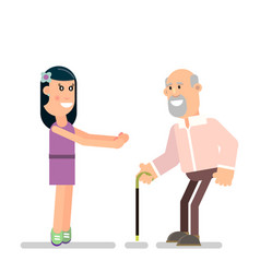 young girl and old father vector image