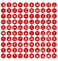 100 beauty salon icons hexagon red vector image