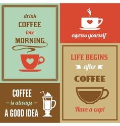 Coffee mini poster set vector image vector image