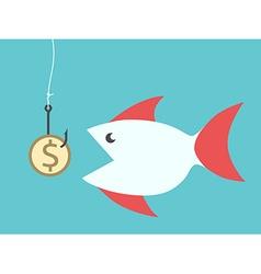 Fish eating dollar bait vector image vector image