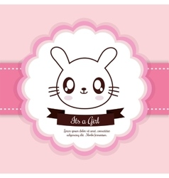 Kawaii rabbit Baby Shower design graphic vector image