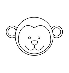 Monochrome contour with male monkey head vector