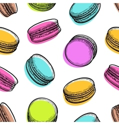 Seamless pattern with macaroons vector image