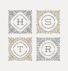 Set of monogram with flourishes frames vector image vector image