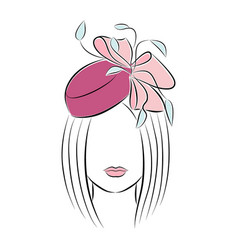 beautiful young girl in a festive hat with a bow vector image vector image