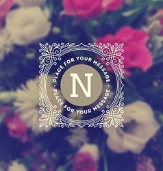 Monogram logo on flowers background vector image