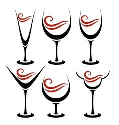 Set of alcoholic glass vector image