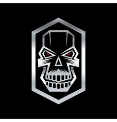 Silver digital skull with red eyes vector