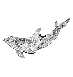 Cute dolphin Adult antistress coloring page vector image vector image