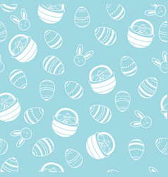 easter pattern with eggs basket and bunny white vector image