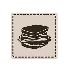 emblem sticker sandwich icon vector image