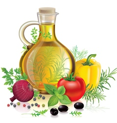 Olive oil and vegetables vector image