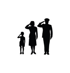 Soldier family salute vector image