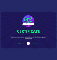 best choice certificate for award winners vector image vector image