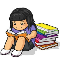 Cartoon of Girl Student Studying Reading Book vector image
