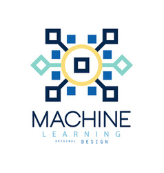colored geometric logo of machine learning vector image vector image