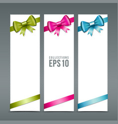 Colorful ribbons and white paper card background vector image vector image